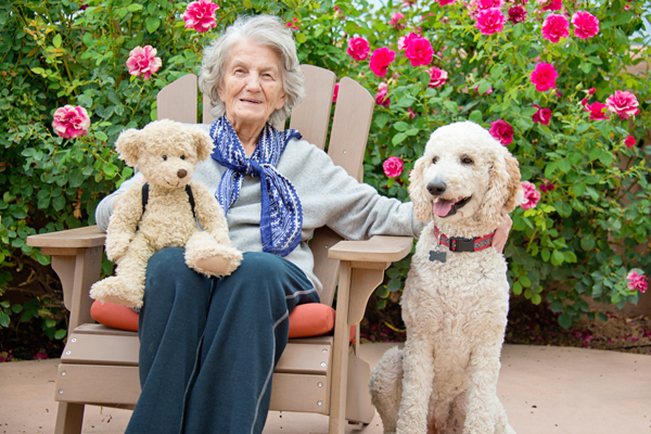 Senior-Woman-with-Therapy-Dog,-Resting-000072335201_Full